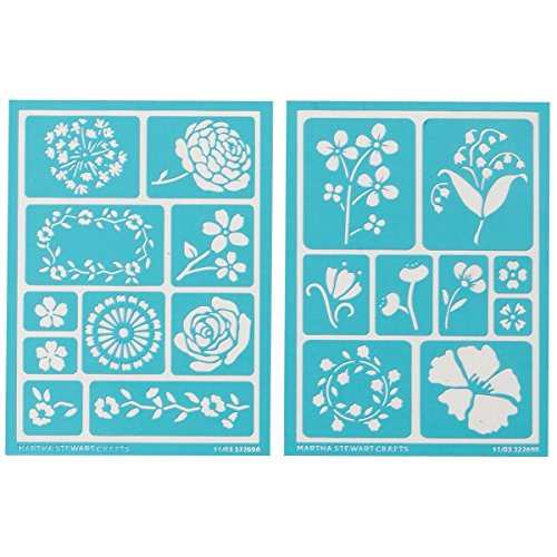 "Plaid:Craft  Martha Stewart Adhesive Stencils 2 Sheets/Pkg-Blossoms 5.75""X7.75"" 19 Designs"
