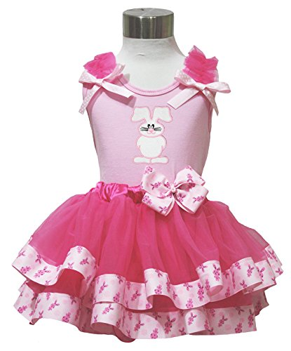 Easter Bunny Rabbit Pink Top Hot Pink Satin Trim Petal Skirt Baby Girl Set Nb-8y