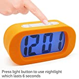 "JCC ""Easysetting"" Silicone Protective Cover Digital Silent LCD Large Screen Desk Bedside Alarm Clock with Snooze Light Function Batteries Powered (Orange)"