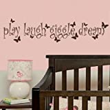 Play Laugh Giggle -Removable Wall Decal / Large Art Transfer / Quote nin43