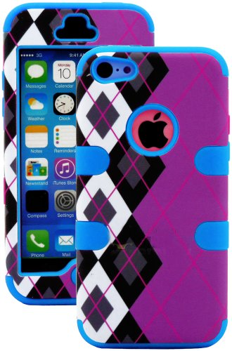 Mylife (Tm) Sky Blue + Black Argyle Plaid 3 Layer (Hybrid Flex Gel) Grip Case For New Apple Iphone 5C Touch Phone (External 2 Piece Full Body Defender Armor Rubberized Shell + Internal Gel Fit Silicone Flex Protector + Lifetime Waranty + Sealed Inside Myl