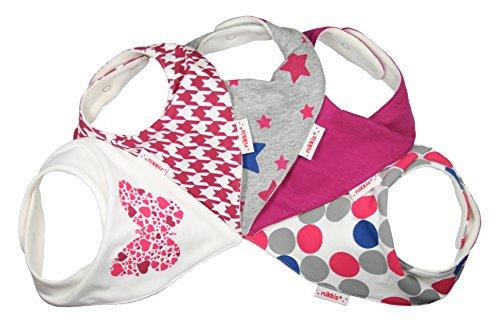 Supergirl - Packung mit 5 nikkis® Baby Sabber Lätzchen - 100% saugfähige und weiche Jersey Baumwolle Halstücher (Premiumqualität) - Auch als Geschenk geeignet (trendy & schön)