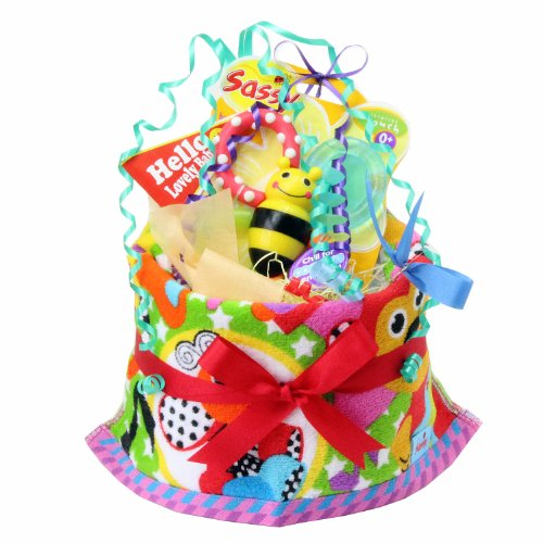 ご出産のお祝いにポップで楽しいオムツケーキ 《マイ リトル パル》