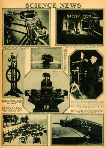 1920 Rotogravure Curtiss Scooter Static Electrical Generator Benjamin Franklin - Original Rotogravure