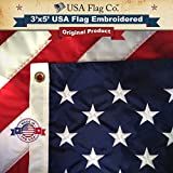 American Flag by USA Flag Co. is 100% American Made: The BEST 3x5 US Flag ★ Made in the USA ★ Embroidered Stars and Sewn Stripes - FREE Shipping for Prime Members and Amazon A to Z Guarantee. This 3x5 American Flag meets US Flag Code. Made in the United States of America (3 by 5 foot)