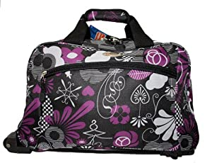 Wheeled Travel Holdall Gym Sports Bag Blackfloral