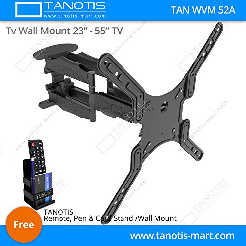 """Tanotis Imported 6 Way Dual Arm Swivel Tilt TV Wall mount for LCD/LED TV's upto 32"""" to 55"""" inch for flat wall or Corner Mounting with VESA upto 400 MM TAN WVM 52A + Free TANOTIS Remote Stand TAN ACC RMS"""