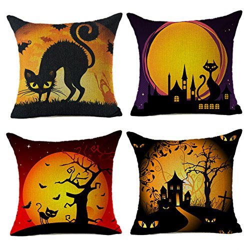 Black Cat Under the Moonlight Happy Halloween Home Decor Throw Pillow Case Cushion Cover 18 x 18 Inch Cotton Linen Set of 4,By 4TH Emotion