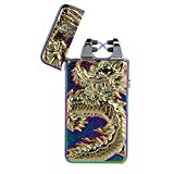 Pard Relief Dragon Windproof Cross Arc Lighter, USB Rechargeable Flameless Electronic Pulse Arc Cigarette Lighter, Mix Color