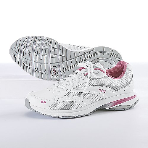 RYKA Women's Radiant Plus Walking Shoe ,White/Pink Mystique/Chrome Silver,7.5 M US