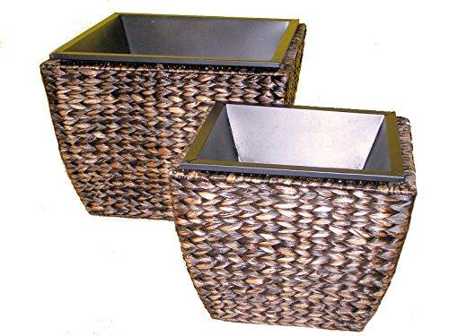 2er Set Übertöpfe / Blumenkübel Wasserhyazinthe inkl. Einsatz Gr. 40 x 40 cm H 30 cm