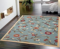 Ottomanson Ottohome Collection Floral Garden Design Modern Area Rug with Non-Skid (Non-Slip) Rubber Backing, 3\'3\
