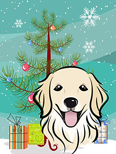 Christmas Tree and Golden Retriever Garden Flag, Small, Multicolor