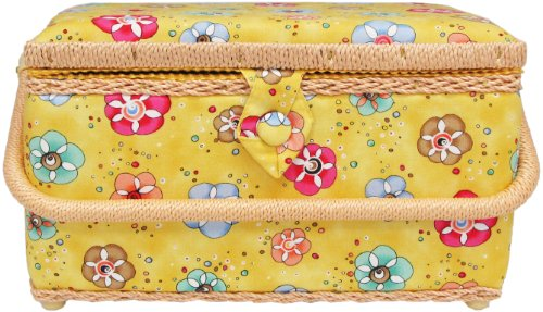 Buy Discount Allary Large Rectangle Sewing Basket, Various Colors and Patterns