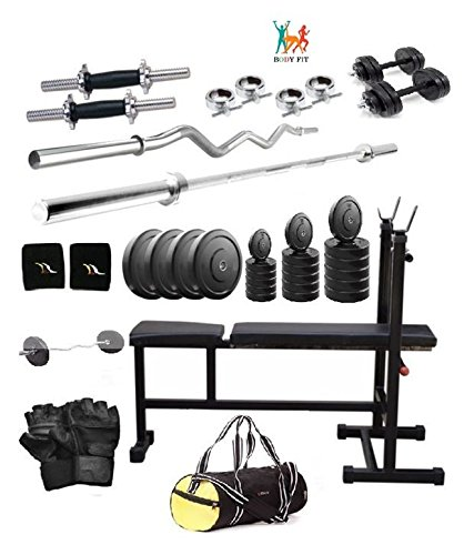 Bodyfit 20 kg Home Gym,2 Dumbbell Rods, 2 Rods(1 CURL), 3 In 1 (i/d/f) Bench,GYM BAG
