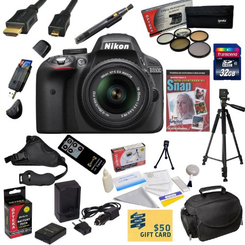 $$  Nikon D3300 Digital SLR Camera with 18-55mm NIKKOR VR II Lens With Must Have Accessory Kit - Includes 32GB High-Speed SDHC Card + Card Reader + Extra Battery + Travel Charger + 5 Piece Pro Filter Kit (UV, CPL, FL, ND4 and 10x Macro Lens) + HDMI Cable + Padded Gadget Bag + Remote Control + Professional 60