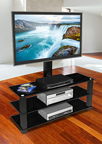 Mount-It! MI-866 TV Stand with Mount, Entertainment Center for Flat Screen TVs Between 32 to 60 Inch, 3 Tempered Glass Shelves and Powder Coated Aluminum Columns, VESA Compatible TV Mount, Black (70 Tv Stand With Mount compare prices)