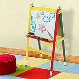 Children's Multicolored Fun Wood Pencil Design Free Standing A-Frame 2-in-1 Whiteboard Easel / Kids Black Chalkboard