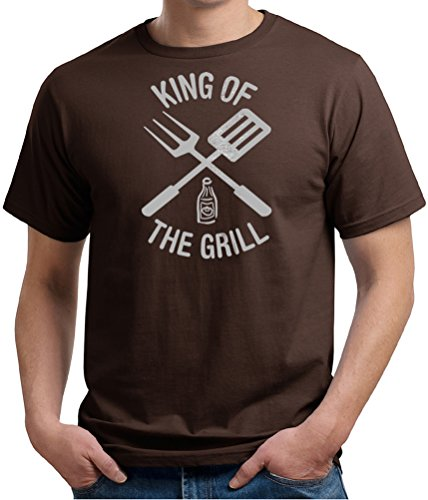 King Of The Grill Organic T-Shirt Barbecue Utensils Adult Tee Shirt, 2Xl, Chocolate