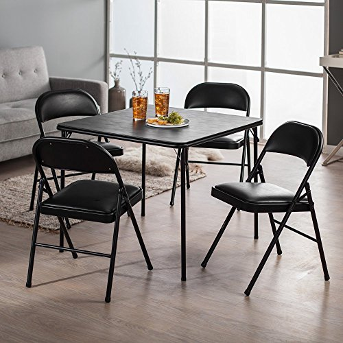 Meco Sudden Comfort Deluxe Double Padded Chair and Back- 5 Piece Card Table Set - Black