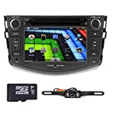 Rear view Backup Reversing Camera Included Hizpo Brand Toyota RAV4 2006 2007 2008 2009 2010 2011 2012 In Dash Double 2 Din Touch Screen GPS iPod DVD Navigation Radio Bluetooth Hands free iPod