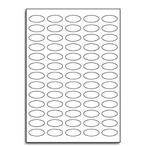 Multi Purpose White Permanent Oval Labels - 65 Labels Per Sheet - 50 Sheets 35mm x 16mm