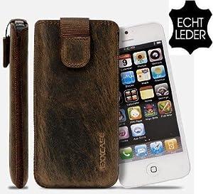 Für iPhone 5 5G Ledertasche Coffee Braun Antik G8 mit Rückzugfunktion , Handytasche , Case , Hülle , Etui , Slide , Display Schutz , Secure