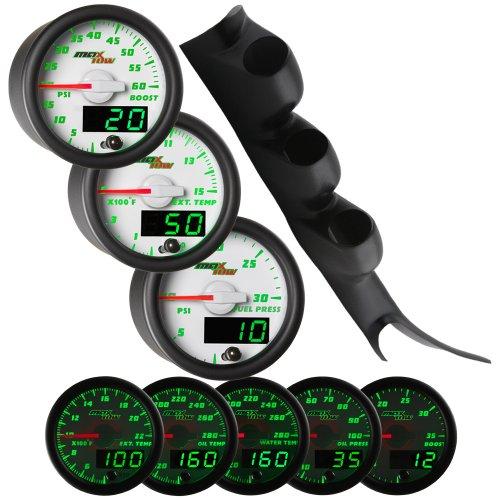White Maxtow 00-06 Chevy Silverado Duramax Diesel Gauge Package White Face Boost, Egt & Fuel Pressure