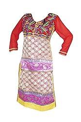 Indiatrendzs Women Kurti Georgette Embroidered Designer Red Long Style Kurti M