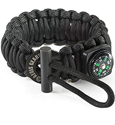 AegisGears Paracord Bracelet S-Series with Outdoor Survival Gear Kit - Fire Starter, Compass