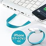 サンワダイレクト リングUSBケーブル iPhone スマートフォン 対応 MicroUSB Dock ブルー 500-USB023BL