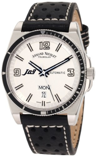 Armand Nicolet J09 9660A-BC-P660NR2 39mm Automatic Stainless Steel Case Black Calfskin Anti-Reflective Sapphire Men's Watch