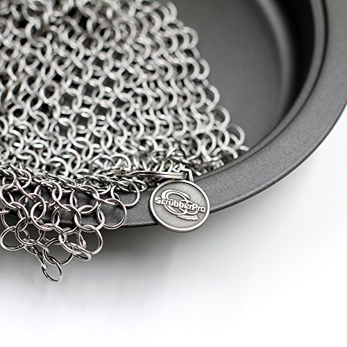 ScrubberPro Cast Iron Chainmail Scrubber - The Ultimate Solution for Cleaning (Pre)Seasoned Cast Iron Cookware - XLarge, 8x6 Inch, Handcrafted from Stainless Steel (Carbon Scaper compare prices)