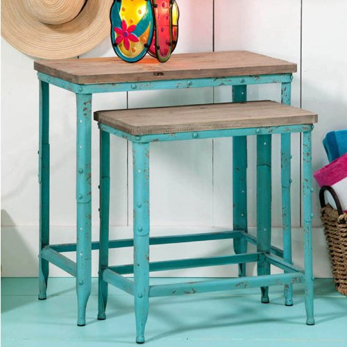 """Set Of 2 Coastal Delights Distressed Light Blue Metal Nesting Tables With Wood Tops 12"""" front-811255"""