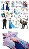 Disney Frozen Twin Sheet Set & Twin Comforter & Roommates Peel and Stick Wall Decals Bundle
