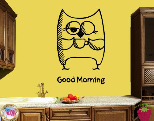 Wall Vinyl Stickers Good Morning Owl Coffee Funny Decor For Kitchen Z1794M