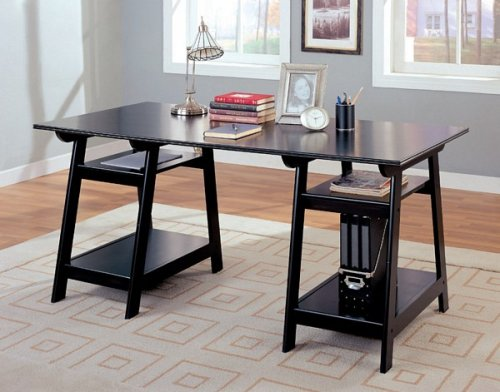 TRESTLE STYLE OFFICE DESK IN BLACK FINISH