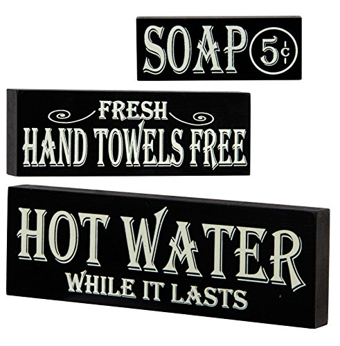 Hot Water, Hand Towels, Soap Lot of 3 Small Wood Block Signs Rustic Bath Country Vintage Look