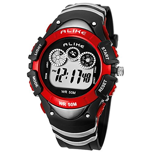 Alike Children Watch Waterproof Sports Watch Female Students Watch A5106 Noctilucent Function(Red)