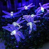 リーダーテク(lederTEK) ソーラー 防雨防水型 ブルー トンボ形 電飾 イルミネーション LED 4.8m 20球 8点滅モデル クリスマス ライト 飾り付け