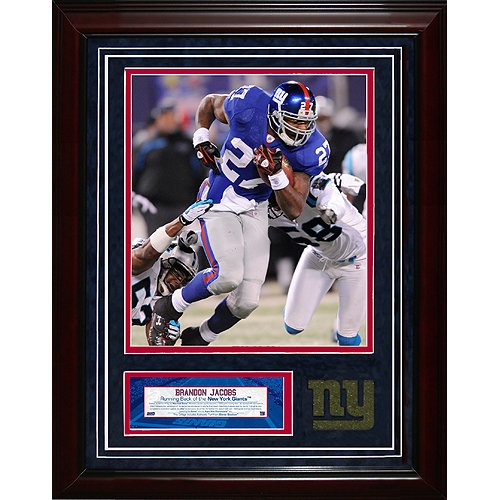 Steiner Sports NFL New York Giants Brandon Jacobs 11x14 igned Turf Collage with 8 x 10-inch Photo