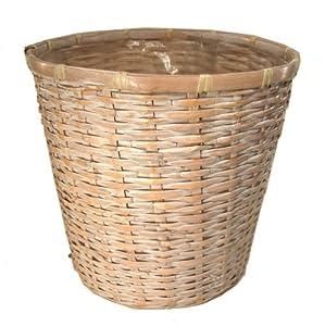 Amazon Com  White Rattan Planter Basket With Liner Home Kitchen