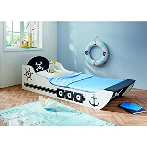 oxid7 lit pour enfant en forme de bateau pirate 90 x 200 cm cuisine maison. Black Bedroom Furniture Sets. Home Design Ideas