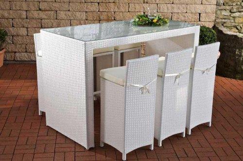 CLP Poly-Rattan Garten-Bar Set LENOX, Farbe wählbar, 6 Barhocker + 6 Sitzkissen + Bar-Tisch 167 x 81 cm, Höhe 113 cm weiß bestellen