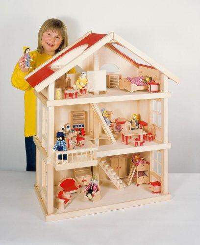 Puppenstube, 3 Etagen-Puppenhaus aus Holz, komplett mit Möbeln für 5 Zimmer