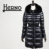 HERNO ヘルノ レディース ファー付きロングダウンジャケット PI0171D 12017/B FUR 9300(ブラック)