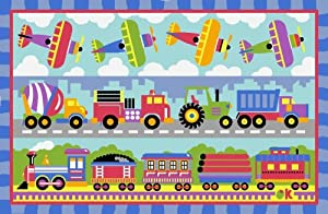La Rug Trains Planes Trucks Rug 19x29 from LA Rug Co