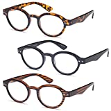 GAMMA RAY READERS 3 Pairs of The Teacher Round Unisex Spring Hinge Readers Fit for Men and Women Reading Glasses - With +1.50 Magnification