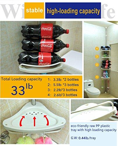 BathroomConstant Tension Shower Caddy Pole, Commecial Grade Rustproof Corner Rack - Ivory