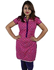 Simply Sapnaa's Women's Cotton Printed Half Sleeve Kurti (Pink)